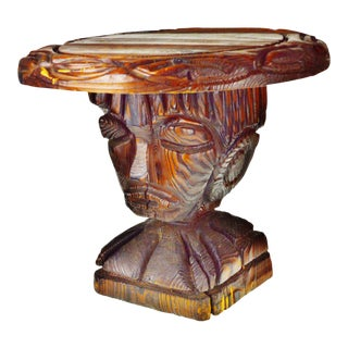 Vintage Hand Carved Solid Wood Accent Table