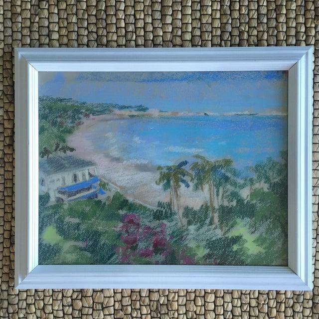 Original Oil Pastel Carribean Coastal Seascape Framed Art - Image 2 of 10