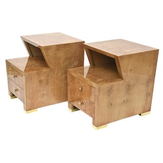 Pair of Sir Edmund Spence Burled Maple Two-Drawer Night or End Tables