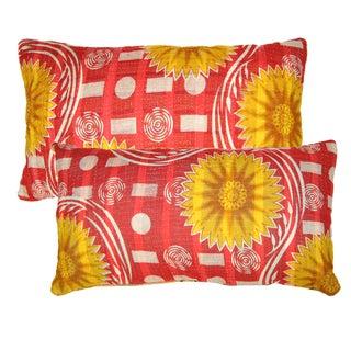 Red & Yellow Kantha Lumbar Pillows - A Pair