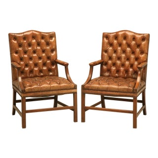 Pair of English Button Tufted Leather Vintage Chesterfield Armchairs