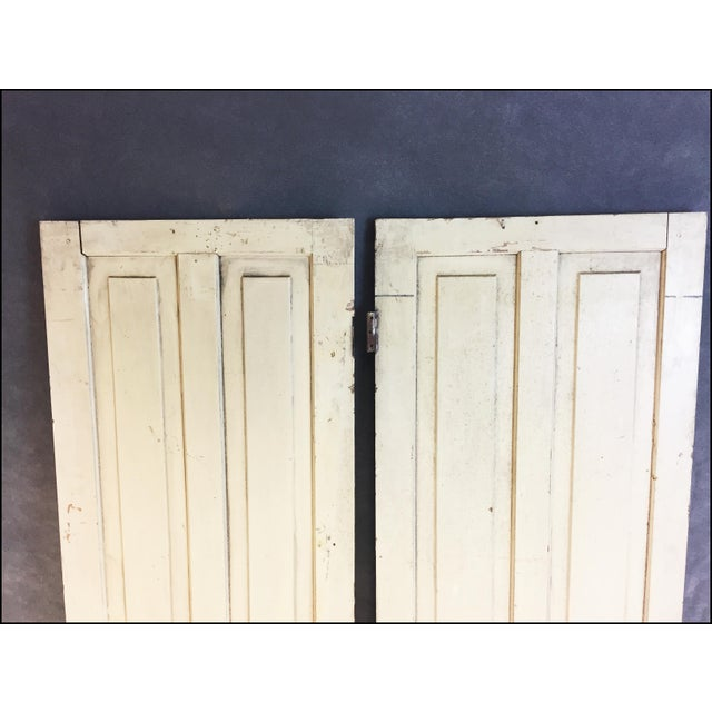Vintage Rustic Yellow Milk Painted Cabinet Doors - A Pair - Image 5 of 11