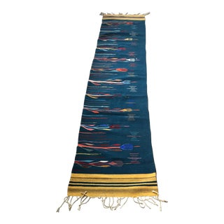 Native American Floral Hand Woven Runner- 1′11″ × 9′4″