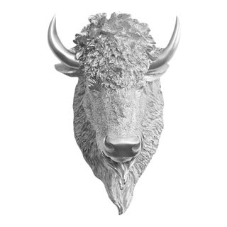 Wall Charmers Faux Bison Bust in Silver