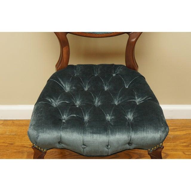 Blue-Green Tufted Velvet Side Chair - Image 10 of 11