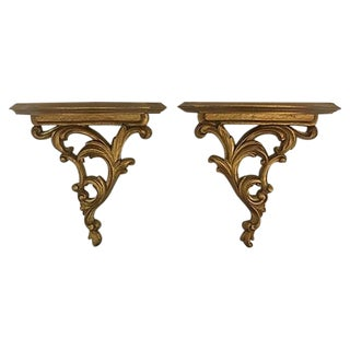 1960's Syroco Wood Ornate Wall Shelves - A Pair