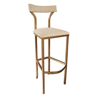 Gold Bar Stool with Cream Chenille Upholstery