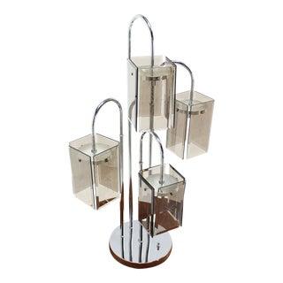 Chrome and Smoke Glass Shade Mid-Century Modern Table Lamp
