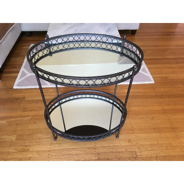 Dark Brass Mirrored Bar Cart - Image 2 of 3