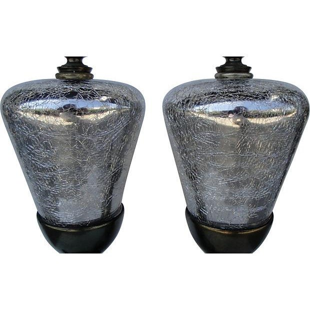 Image of Mid-Century Crackle Mirror & Brass Lamps - A Pair