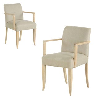 French Modern Cerused Oak Arm Chairs - A Pair