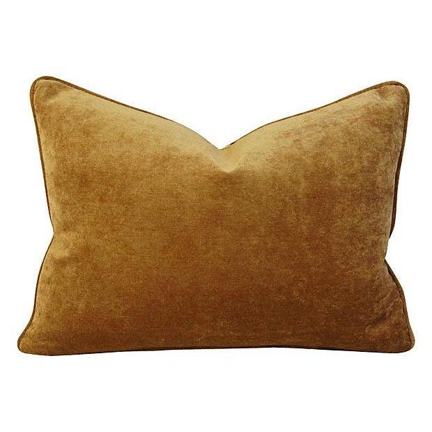 Schumacher Tiger Linen/Scalamandre Velvet Pillow - Image 3 of 4