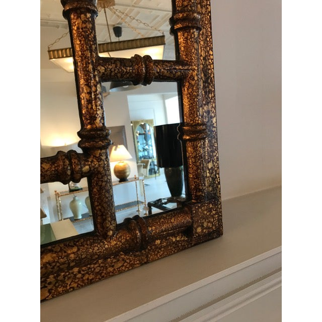 Chinoiserie Faux Tortoise Mirror - Image 3 of 5