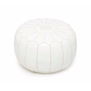 Divinely White Handmade Moroccan Leather Pouf