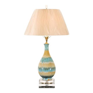 Chic Pair of Large-Scale Drip Glaze Ceramic Lamps in Caramel and Sultanabad Blue