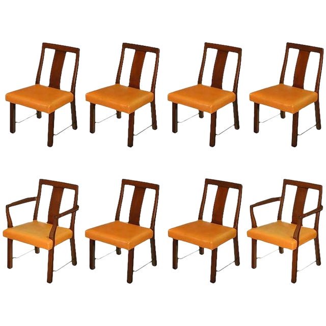 Eight Edward Wormley Mahogany, Leather and Brass Dining Chairs - Image 1 of 9
