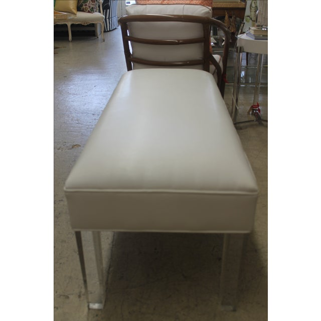 white leather bench with acrylic legs chairish. Black Bedroom Furniture Sets. Home Design Ideas