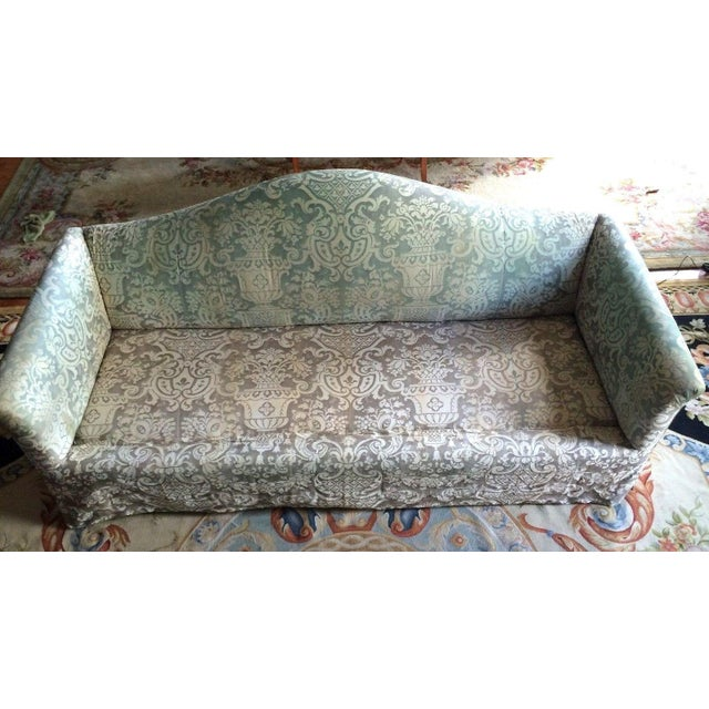 Image of Fortuny Covered Camel-Back Sofa with Rolled Arms