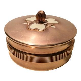 1940s Vintage Manhattan Glass Copper Enamel Vanity Dish