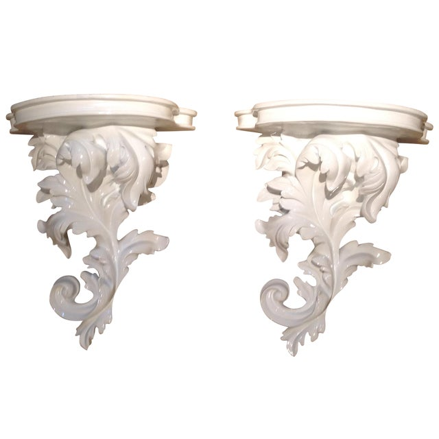 Image of White Rococco-Style Wall Shelves - A Pair