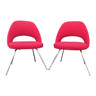 Eero Saarinen for Knoll Red Side Chairs - A Pair