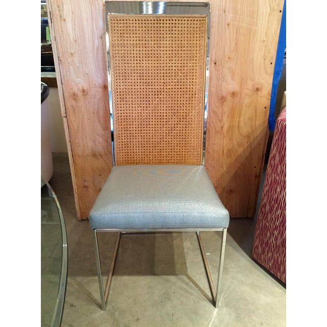 Set of Eight Milo Baughman Chrome and Cane Back Dining Chairs - Image 7 of 10