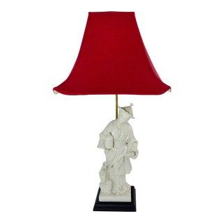 Vintage Female Figural Blanc De Chine Table Lamp