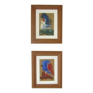 Original Oil on Board Abstract Paintings - A Pair