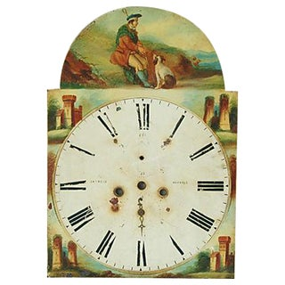 Antique Hand-Painted Scottish Tall Clock Face