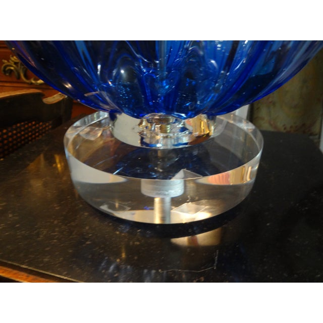 murano glass cobalt blue table lamp chairish. Black Bedroom Furniture Sets. Home Design Ideas