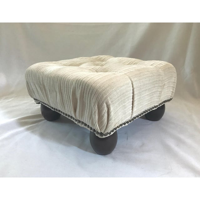 Ethan Allen Petite Crème White Tufted Velvet Ottoman With Brass Nailheads - Image 6 of 7