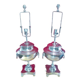 Ralph Lauren Samovar Table Lamps in Polished Silver - A Pair