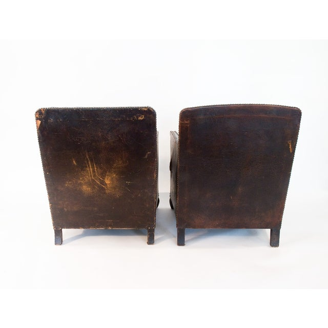Image of Vintage 1920s Brown Leather Club Chairs - A Pair