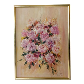 """Pink Roses"" Mid Century Oil Painting"