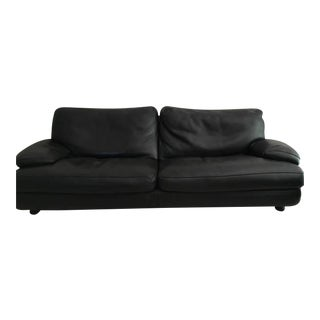 Roche Bobois Black Leather Sofa