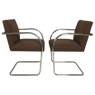 Mies Van Der Rohe Tubular Chrome Brno Chairs by Knoll - A Pair
