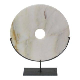 Cream Stone Disc Sculpture, China, Contemporary