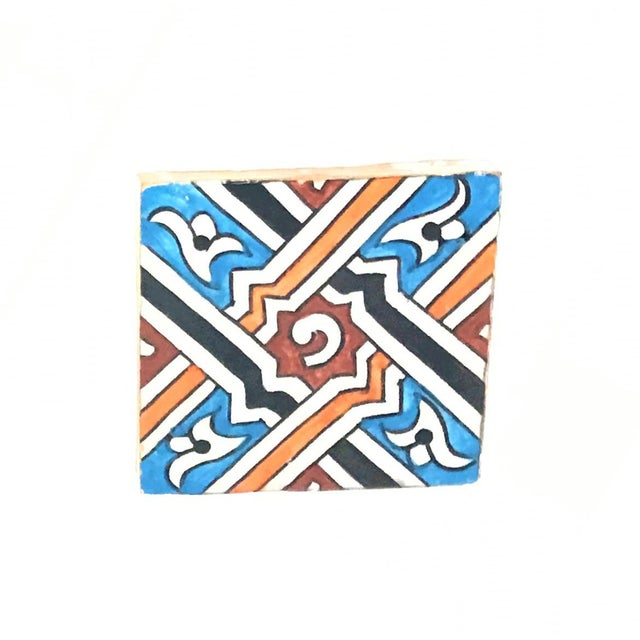 Hand Painted Small Moroccan Decorative Cement Tile - Image 2 of 2