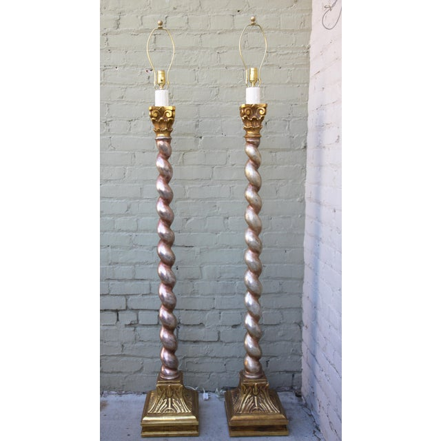 Silver gold barley twist floor lamps a pair chairish for Gold twist floor lamp