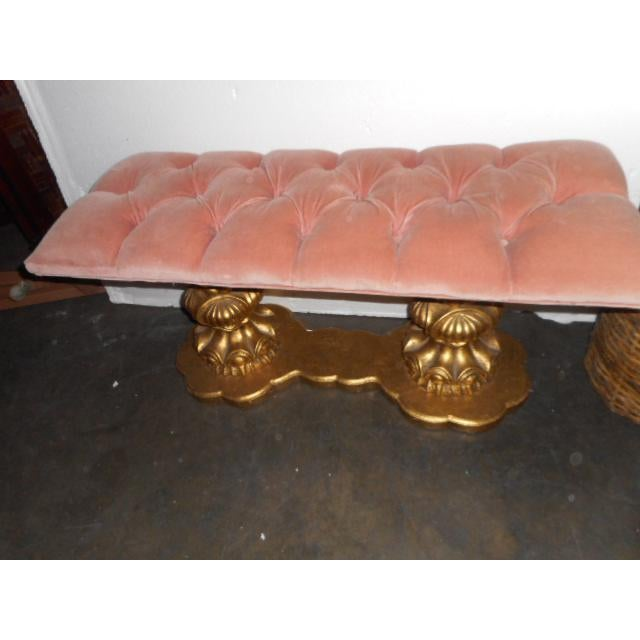 Regency Hollywood Pink Tuft Chair Bench Vanity Stool - Image 6 of 7