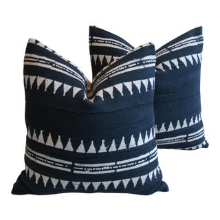 Boho Chic Mali Mud Cloth Tribal Design Down/Feather Pillows - Pair