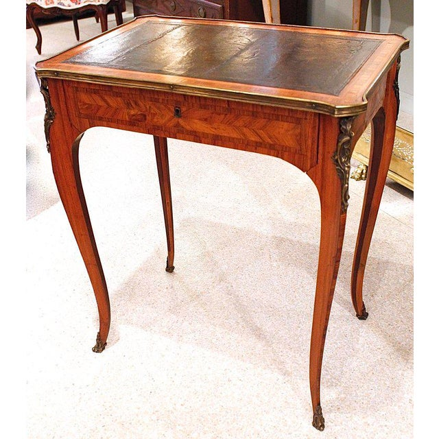French Louis XV Style Brass Bound Marquetry Occasional Table - Image 2 of 11