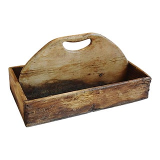 Antique Wood Tote Tray Caddy