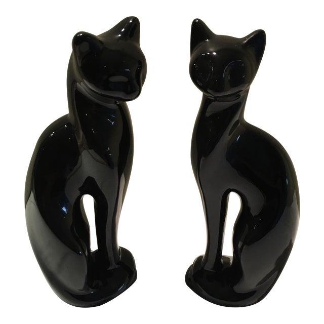 Mid-Century Sleek Black Cat Sculptures - A Pair - Image 1 of 4