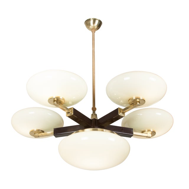 Opaque Glass and Brass Chandelier, German 1930s - Image 3 of 7