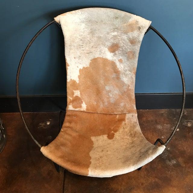 Mid-Century Cowhide Sling Hoop Chairs - Image 8 of 10