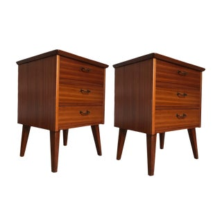 Pair of Petite Three-Drawer Danish Cuban Mahogany Nightstands / Bedside Tables