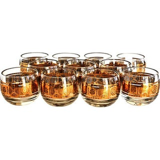 Gold Roly Poly Glassware - Set of 11