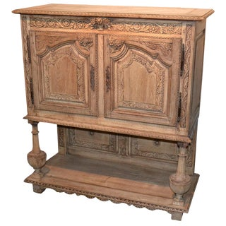 19th C. French Bleached Oak Drinks Cabinet