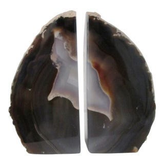 Brazilian Charcoal Gray Agate Bookends - A Pair